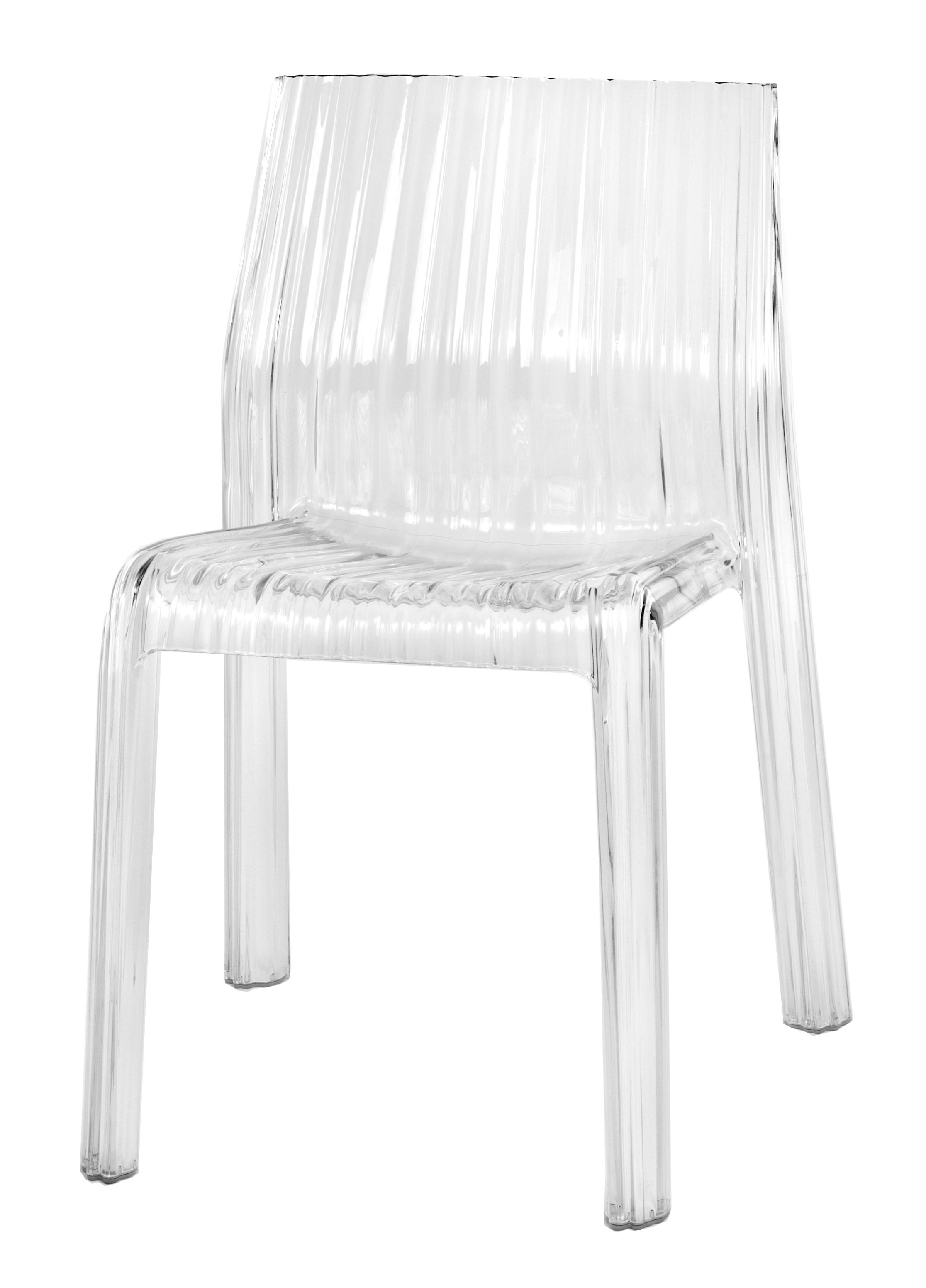 Furniture - Chairs - Frilly Stacking chair - transparent / Polycarbonate by Kartell - Cristal - Polycarbonate