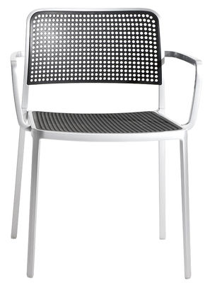 Möbel - Stühle  - Audrey Stapelbarer Sessel Gestell Aluminium mattiert - Kartell - Gestell: Aluminium mattiert - Sitzfläche: schwarz - klarlackbeschichtetes Aluminium, Polypropylen