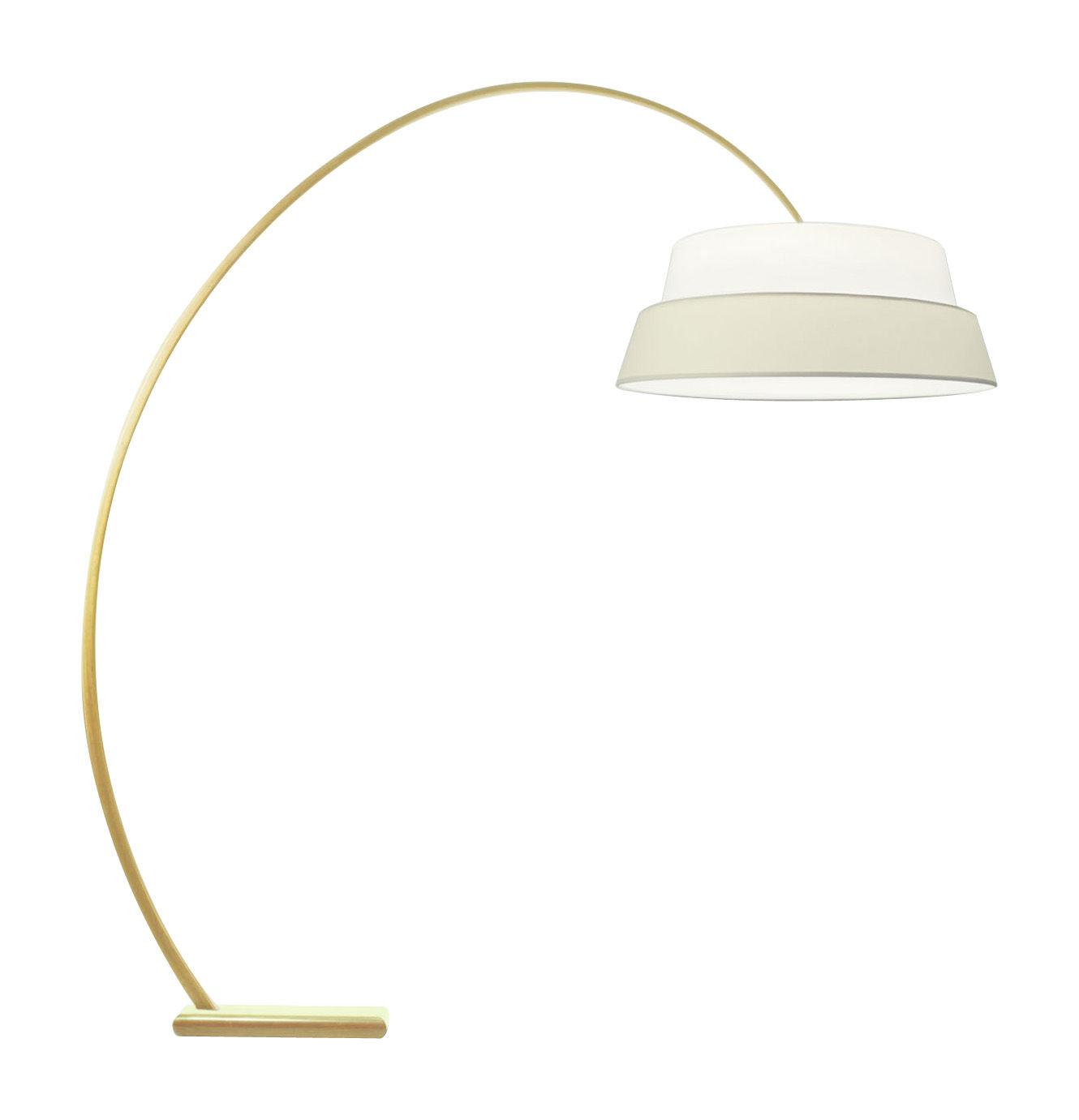 Leuchten - Stehleuchten - Nuala Stehleuchte - Objekto - Lampenfuß aus Esche mit Naturlack - Lampenschirm weiß/natur - Esche, Gewebe