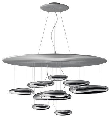 Luminaire - Suspensions - Suspension Mercury / Halogène - Ø 110 cm - Artemide - Gris métal & miroir - Acier inoxydable, Aluminium