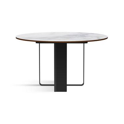 Table à rallonge Felice /Ø 130 à L 230 cm - Céramique effet marbre & palissandre - RED Edition blanc en céramique/pierre