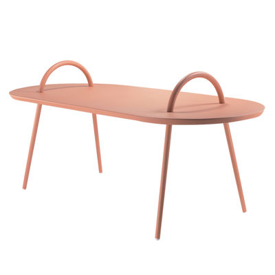 Tous les designers - Table basse Swim / Métal - 118 x 52,5 cm - Bibelo - Rose Barbe à Papa - Acier laqué époxy
