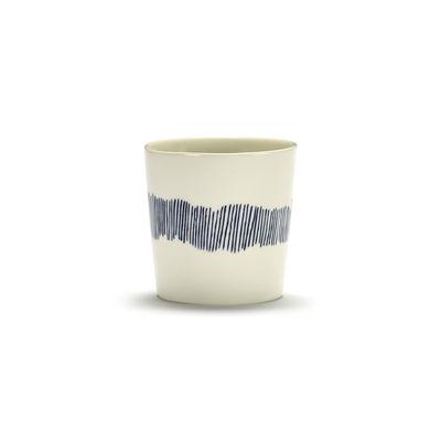Arts de la table - Tasses et mugs - Tasse à café Feast / 25 cl - Serax - Traits / Blanc & bleu - Grès émaillé