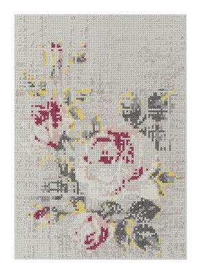Flowers Teppich / 170 x 240 cm - Gan - Weiß,Rosa,Gelb,Grau-Beige