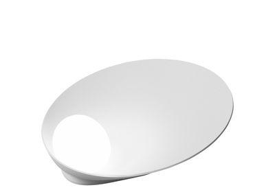 Leuchten - Tischleuchten - Musa Tischleuchte / liegend - Ø 26 cm - Vibia - Mattweiß lackiert - Aluminium, Verre soufflé opalin