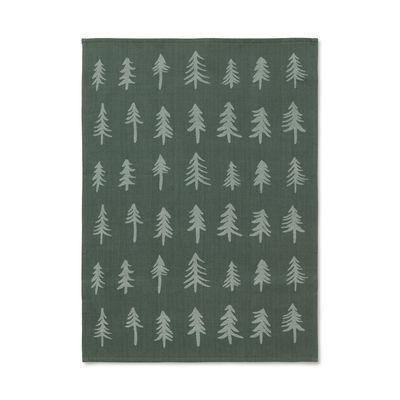 Arts de la table - Nappes, serviettes et sets - Torchon Christmas / 70 x 50 cm - Ferm Living - Vert foncé - Coton  biologique