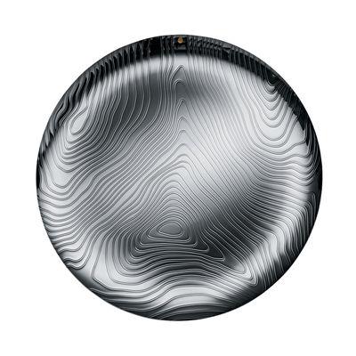 Tableware - Trays - Veneer Tray - / Ø 42 cm - Steel with embossed patterns by Alessi - Polished steel - Stainless steel