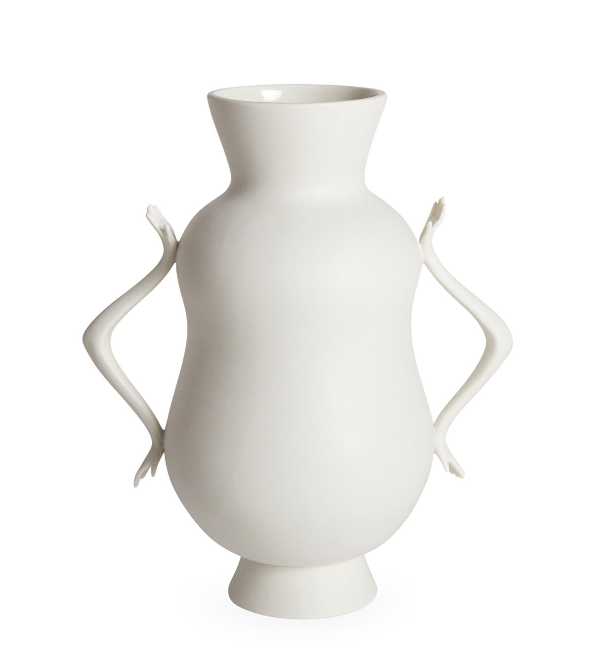 Decoration - Vases - Eve Double Bulb Vase - / Handles in the shape of hands by Jonathan Adler - White - China