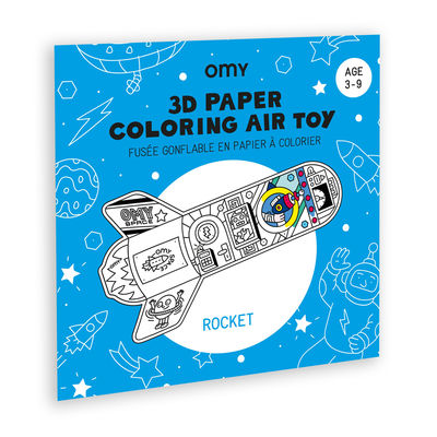 Decoration - Children's Home Accessories - Rocket 3D colouring to inflate - / Paper rocket by OMY Design & Play - Rocket - Nylon, Paper
