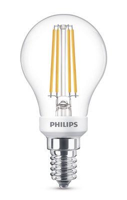 Ampoule LED E14 Sphérique filament / Dimmable - 5W (40W) - 470 lumen - Philips transparent en verre