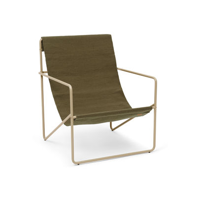Furniture - Armchairs - Desert Armchair - / Beige structure Recycled plastic bottles by Ferm Living - Beige metal / Plain Olive Fabric - Powder coated steel, Recycled fabric