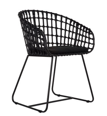 Furniture - Armchairs - Tokyo Armchair - Rattan & metal by Pols Potten - Black / Black feet - Metal, Rattan