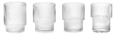 Tavola - Bicchieri  - Bicchiere Ripple / Set da 4 - Vetro soffiato a bocca - Ferm Living - Trasparente / Striature - Vetro soffiato a bocca