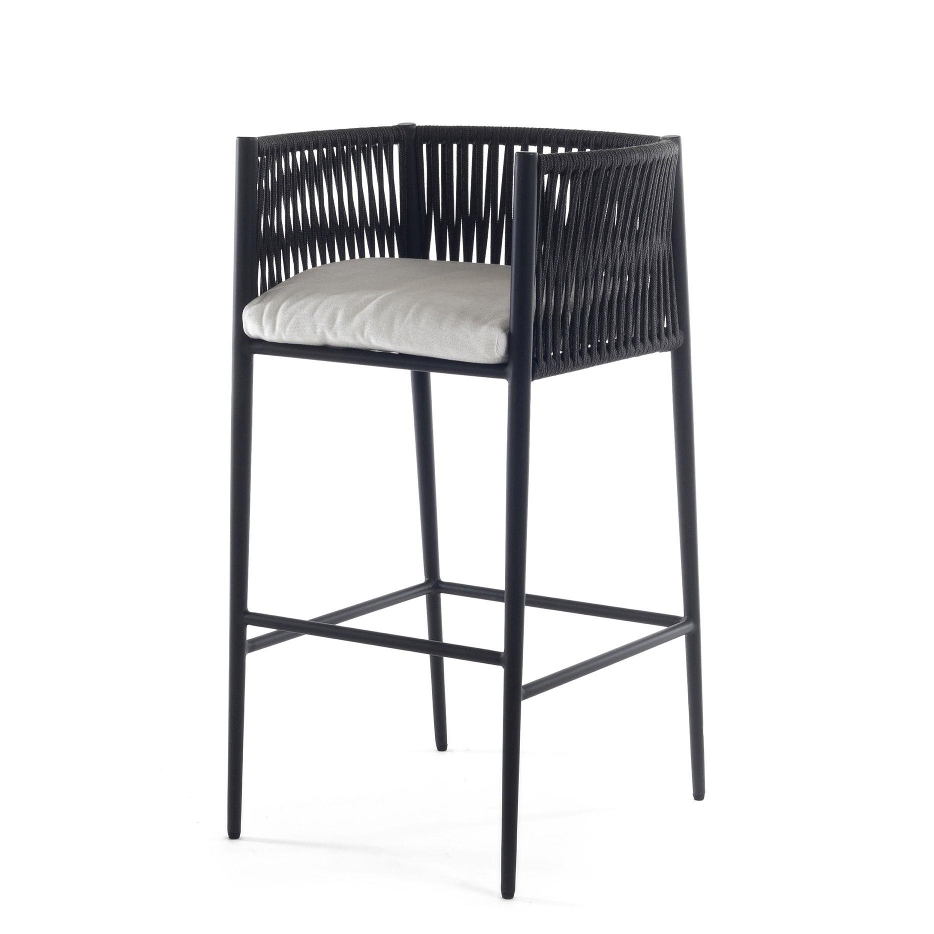 Mobilier - Tabourets de bar - Chaise haute Luce / H 66 cm - Avec coussin - Unopiu - Gris / Coussin blanc écru - Aluminium, Fibre synthétique, Mousse, Tissu acrylique