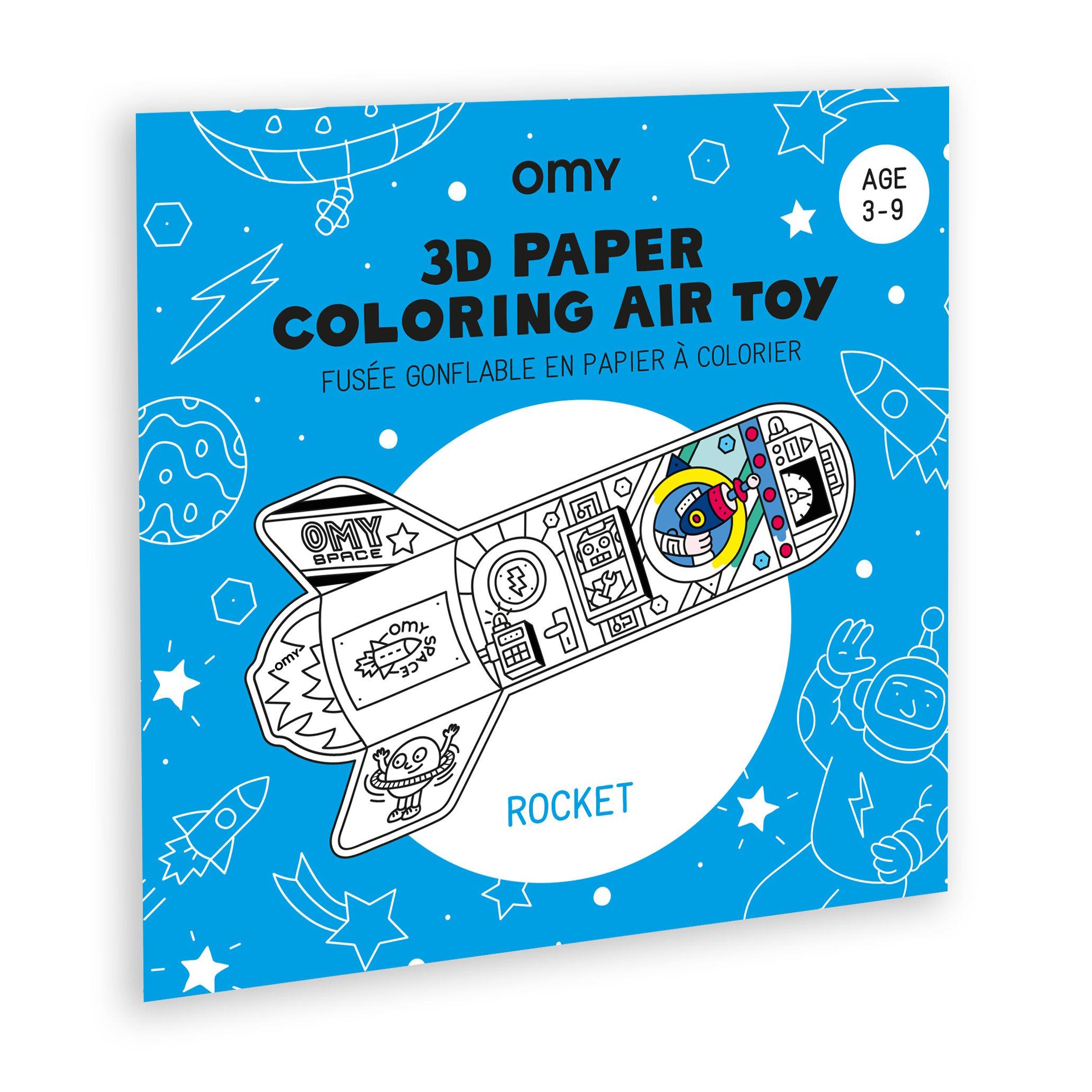 Déco - Pour les enfants - Coloriage 3D à gonfler Rocket / Fusée en papier - OMY Design & Play - Fusée - Nylon, Papier