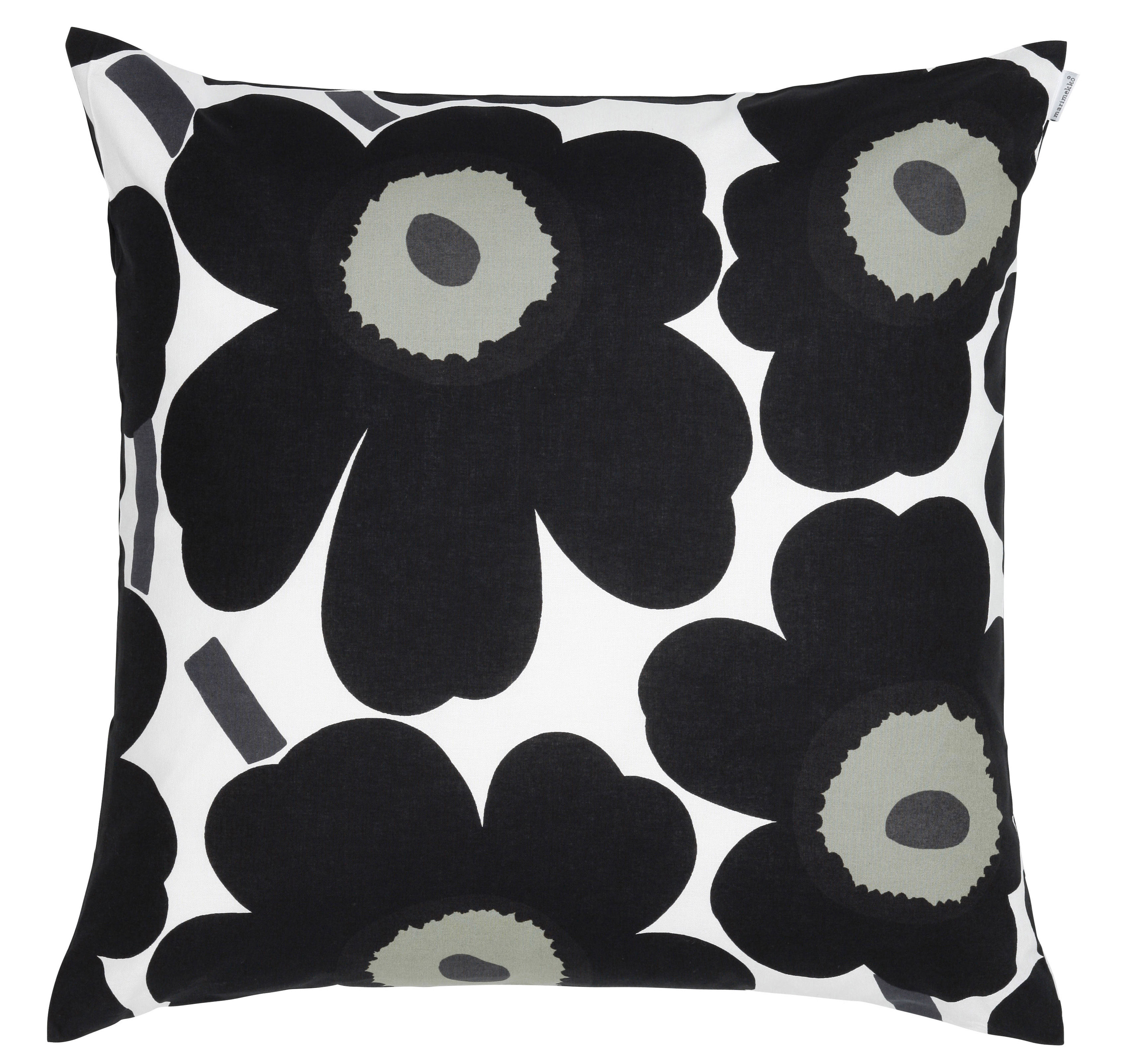 Decoration - Cushions & Poufs - Pieni Unikko Cushion - 50 x 50 cm by Marimekko - Pieni Unikko - White & black - Cotton