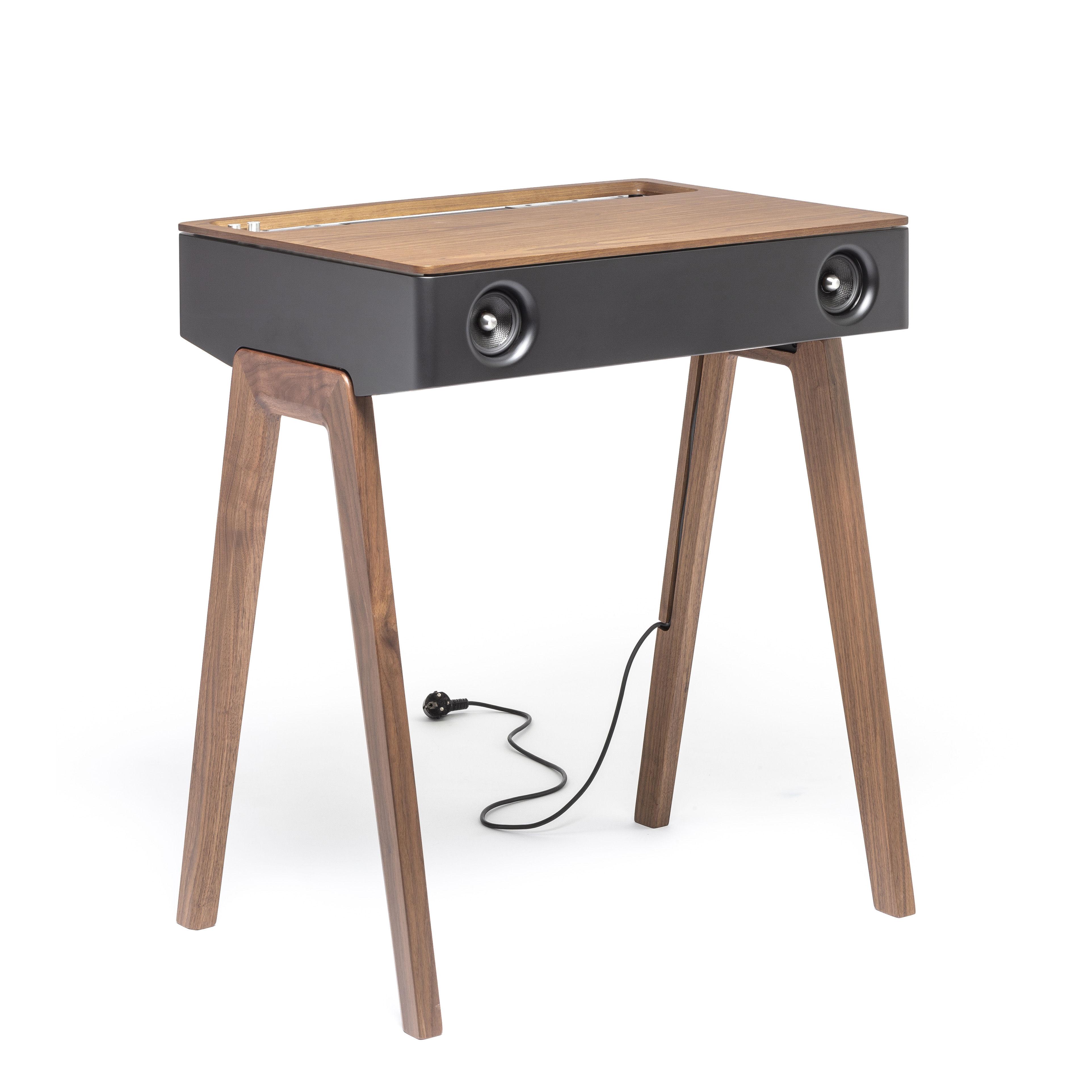 Tendances - Bien chez soi - Enceinte Bluetooth LX / Enceinte active haute-fidélité tout-en-un - La Boîte Concept - Noyer, noir & argent - Aluminium, Bois multiplis, Noyer