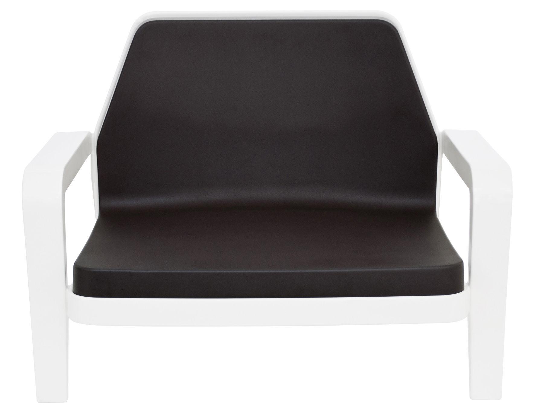 Mobilier - Fauteuils - Fauteuil bas America / Rembourré - Slide - Structure blanche /coussin chocolat - Polyéthylène, Polyuréthane