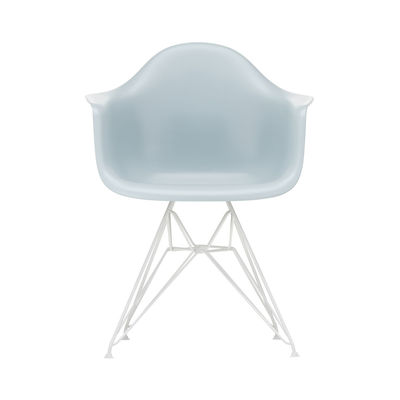 Mobilier - Chaises, fauteuils de salle à manger - Fauteuil DAR - Eames Plastic Armchair / (1950) - Pieds blancs - Vitra - Gris bleuté / Pieds blancs - Acier laqué époxy, Polypropylène