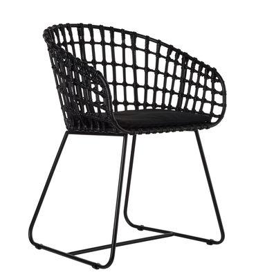 Chaise Tokyo / Rotin & métal - Pols Potten noir en fibre végétale