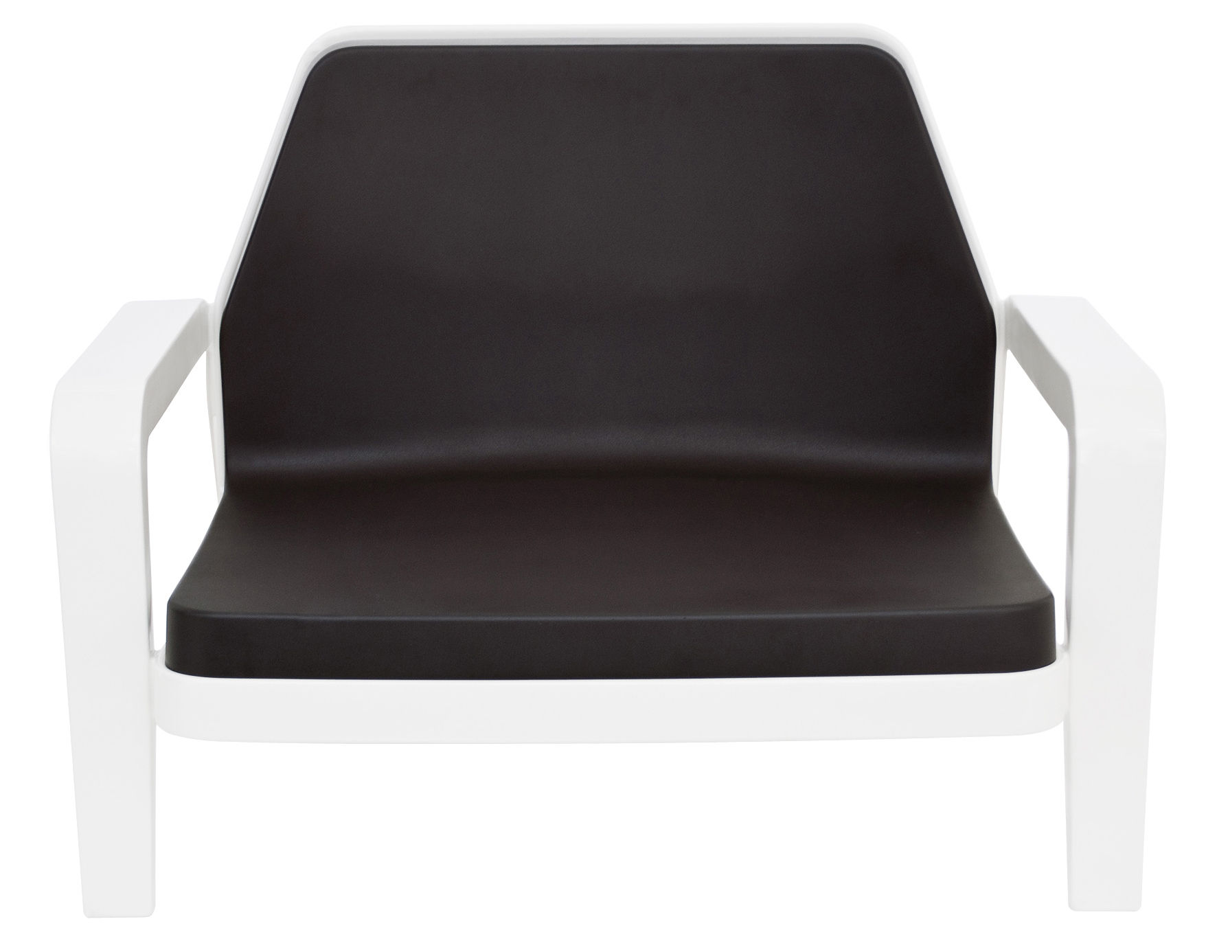 Furniture - Armchairs - America Low armchair by Slide - White structure /brown cushion - Polyurethane, Recyclable polyethylene