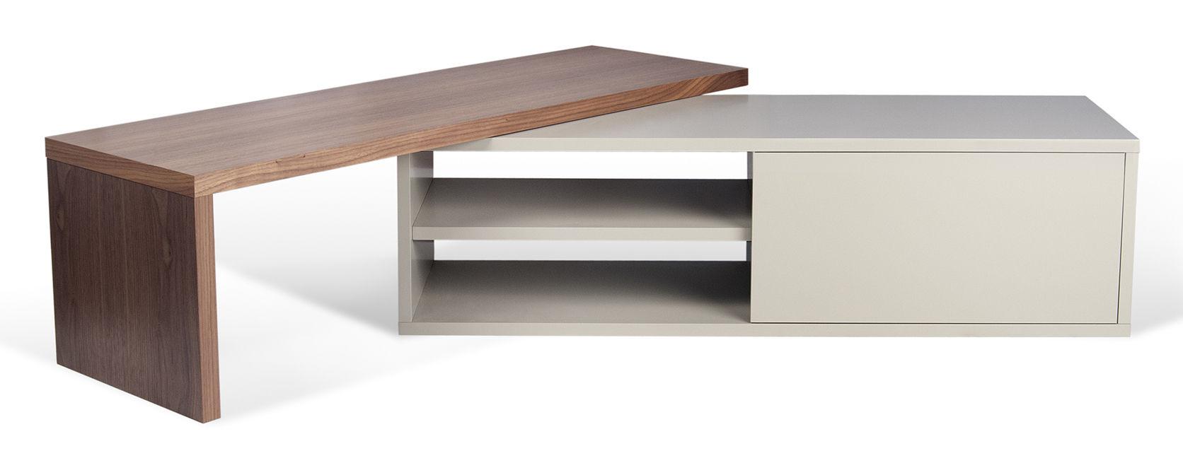 Meuble tv extensible slide pop up home gris made in design - Meuble tv 100 cm longueur ...