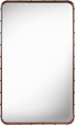 Miroir mural Adnet / 115 x 70 cm - Réédition 50' - Gubi marron en cuir