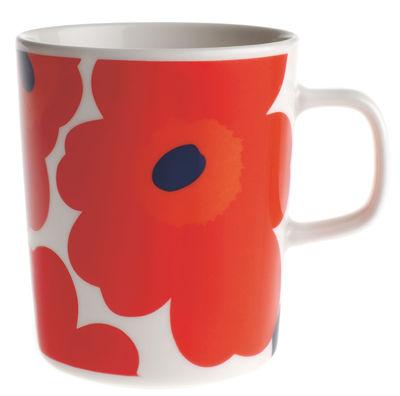 Tableware - Coffee Mugs & Tea Cups - Unikko Mug by Marimekko - Unikko - White & red - Enamelled china