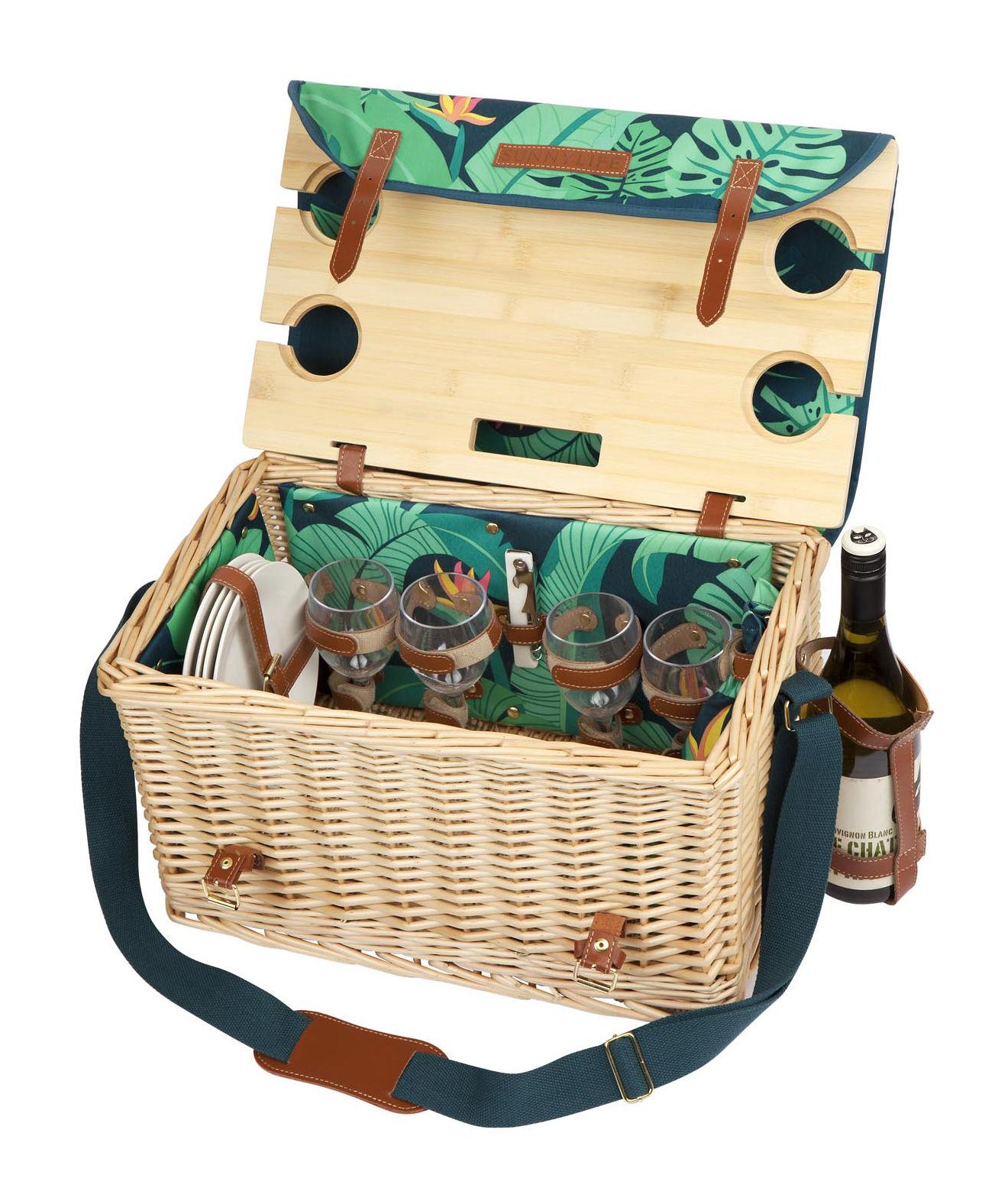 Arts de la table - Assiettes - Panier à pique-nique Monteverde / Osier & cuir - Set complet 4 personnes - Sunnylife - Monteverde - Osier, Similicuir, Tissu polyester