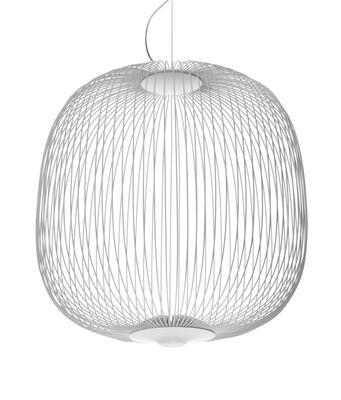 Lighting - Pendant Lighting - Spokes 2 Small Pendant - LED - Ø  52 x H 52,5 cm by Foscarini - White - Aluminium, Lacquered steel