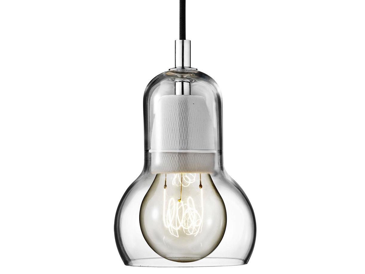 Leuchten - Pendelleuchten - Bulb Pendelleuchte - Ø 11 cm - schwarzes Stromkabel - &tradition - Transparent / Stromkabel schwarz - mundgeblasenes Glas