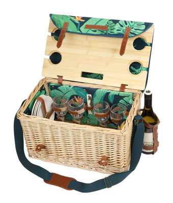 Tableware - Plates - Monteverde Picnic basket - / Wicker & leather - Complete 4-person set by Sunnylife - Monteverde - Imitation leather, Polyester fabric, Wicker