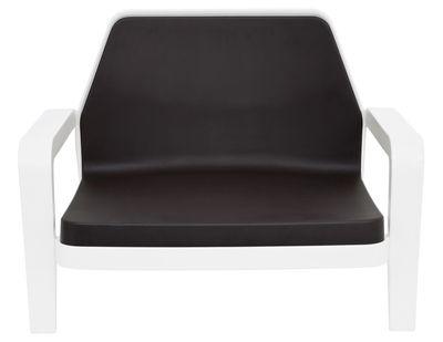 Arredamento - Poltrone design  - Poltrona bassa America di Slide - Struttura bianca / cuscino cioccolato - Polietilene riciclabile, Poliuretano