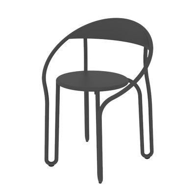 Image of Poltrona impilabile Huggy Bistro Chair - / Alluminio di Maiori - Nero - Metallo