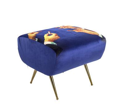 Furniture - Poufs & Floor Cushions - Toiletpaper Pouf - / Footrest - Lipsticks by Seletti - lipsticks / Blue - Metal, Polyester fabric, Polyurethane foam, Wood