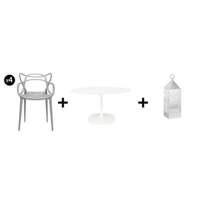 Furniture - Chairs - Promo pack - / Dining room set - Indoor/Outdoor - 1 table + 4 armchairs + 2 lamps by Kartell - Cristal lamps / White table & grey chairs - Plastic material, Sandstone, Varnished aluminium