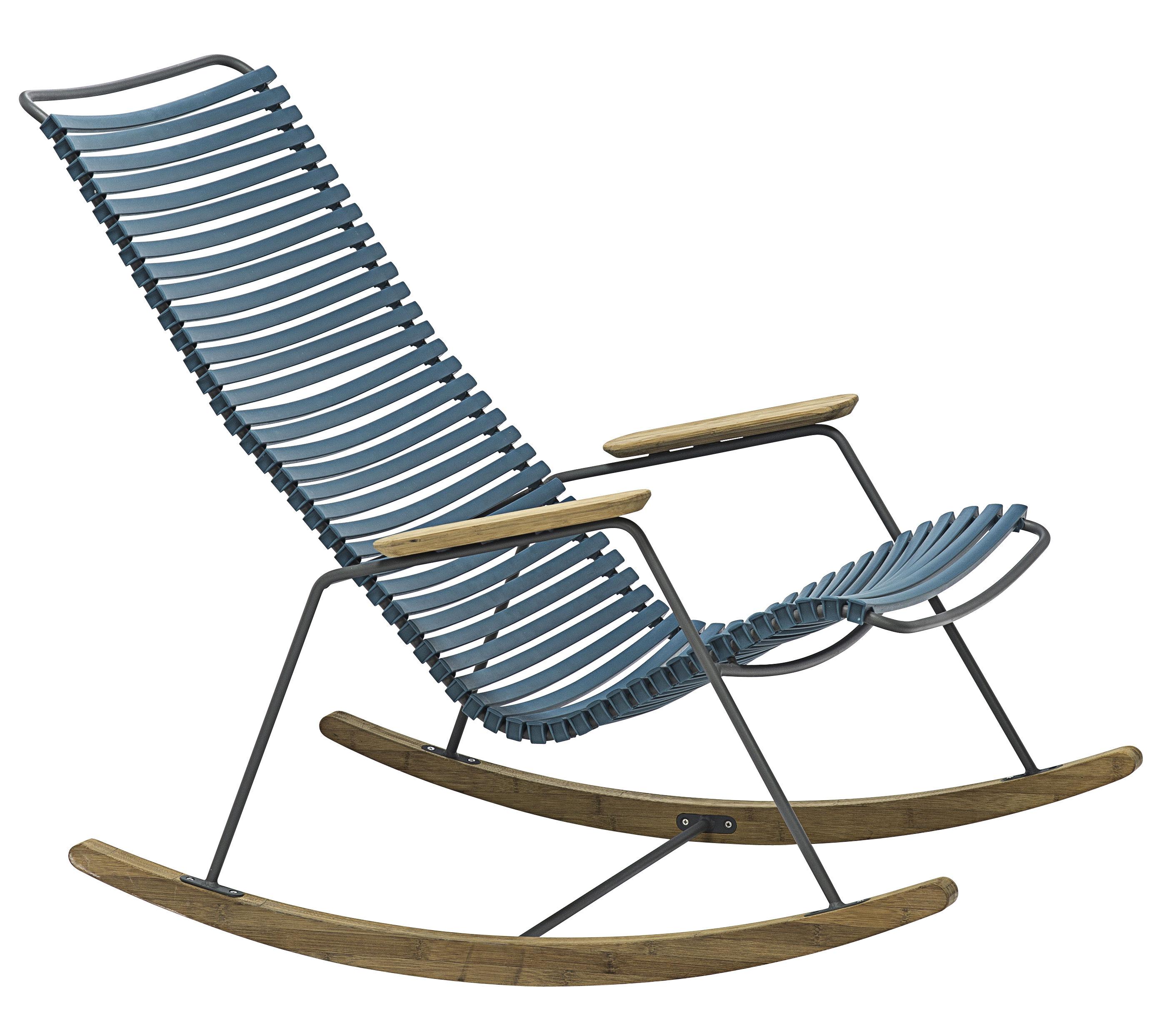 Jardin - Chaises et fauteuils hauts - Rocking chair Click / Plastique & bambou - Houe - Bleu pétrole - Bambou, Matière plastique, Métal