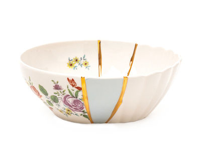 Tableware - Bowls - Kintsugi n°3 Salad bowl - / Ø 19 x H 7 cm - Porcelain & fine gold by Seletti - no. 3 / White, gold & multicoloured - China, Fine gold