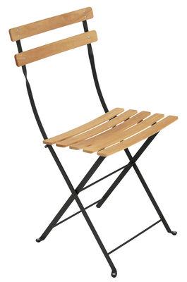 Arredamento - Sedie  - Sedia pieghevole Bistro / Metallo & legno - Fermob - Liquirizia - Acciaio verniciato, Faggio trattato