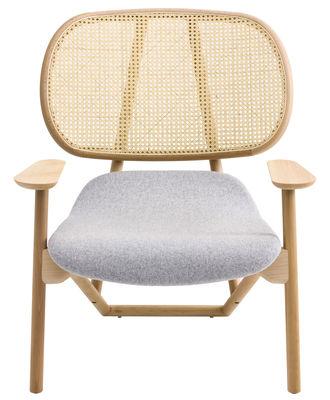 Möbel - Lounge Sessel - Klara Sessel Rückenlehne mit Korbgeflecht - Moroso - Korpus aus Buche natur, getönt / Rückenlehne aus Korbgeflecht / Sitzfläche Stoff (beige) - Buchenfurnier, Kvadrat-Gewebe, Paille