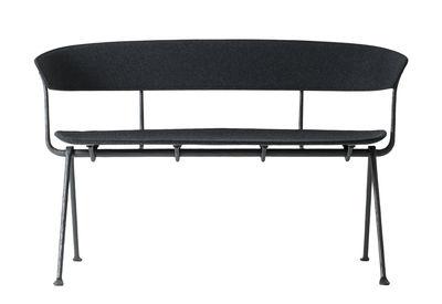 Möbel - Bänke - Officina Sitzbank / Stoff - L 125 cm - Magis - Bezug dunkelgrau / Gestell schwarz - Buchenfurnier, Kvadrat-Gewebe, Lackiertes Schmiedeeisen