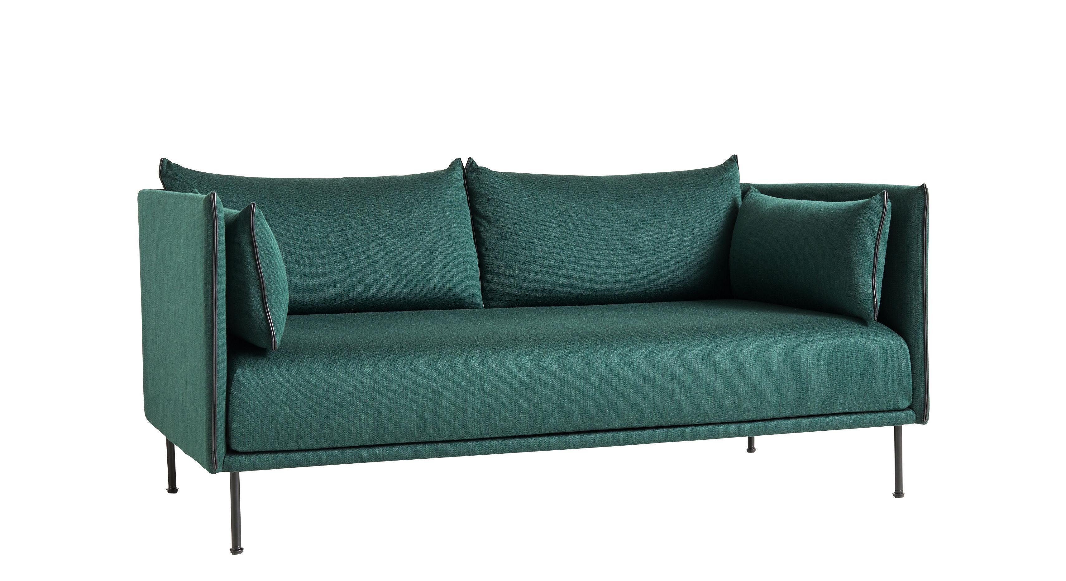 Möbel - Sofas - Silhouette Sofa / 2-Sitzer - L 171 cm - Hay - Grün / Füße schwarz -  Plumes, Gewebe, Glasfaser, Polyurethan-Schaum