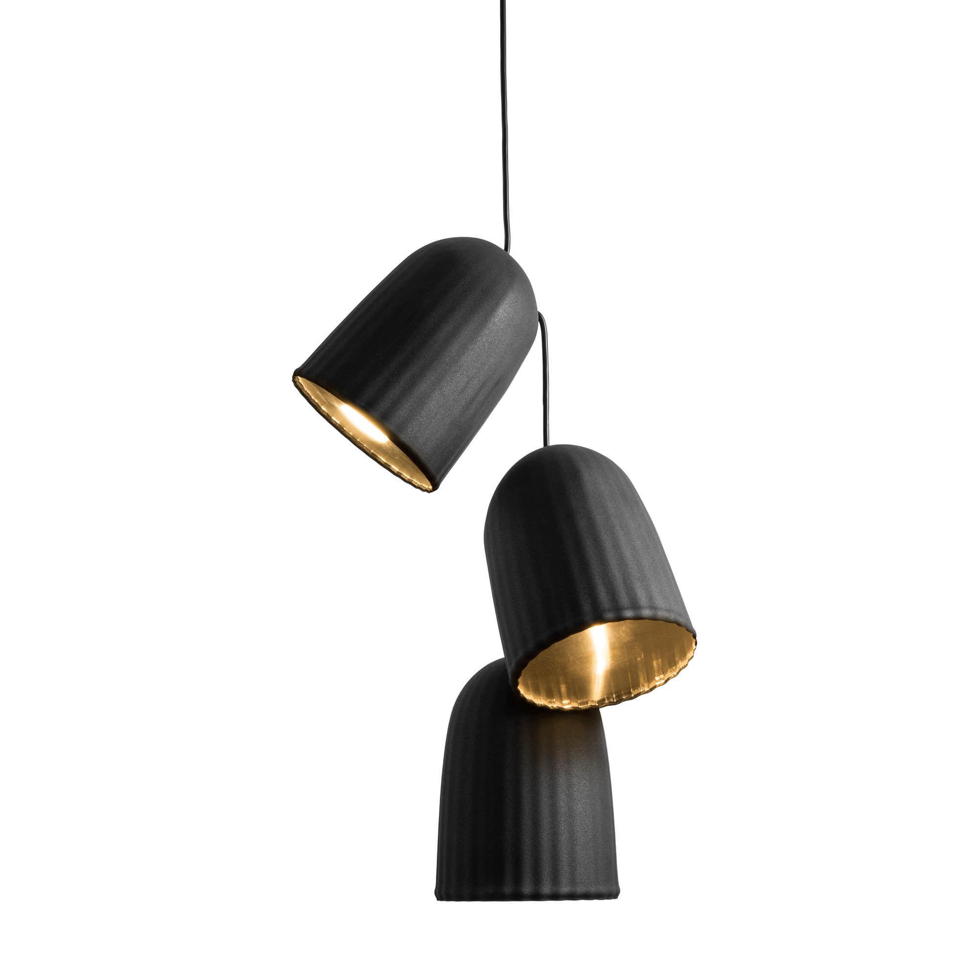Luminaire - Suspensions - Suspension Chains Multiple / 3 abat-jours + 1 câble - Petite Friture - Noir - PVC