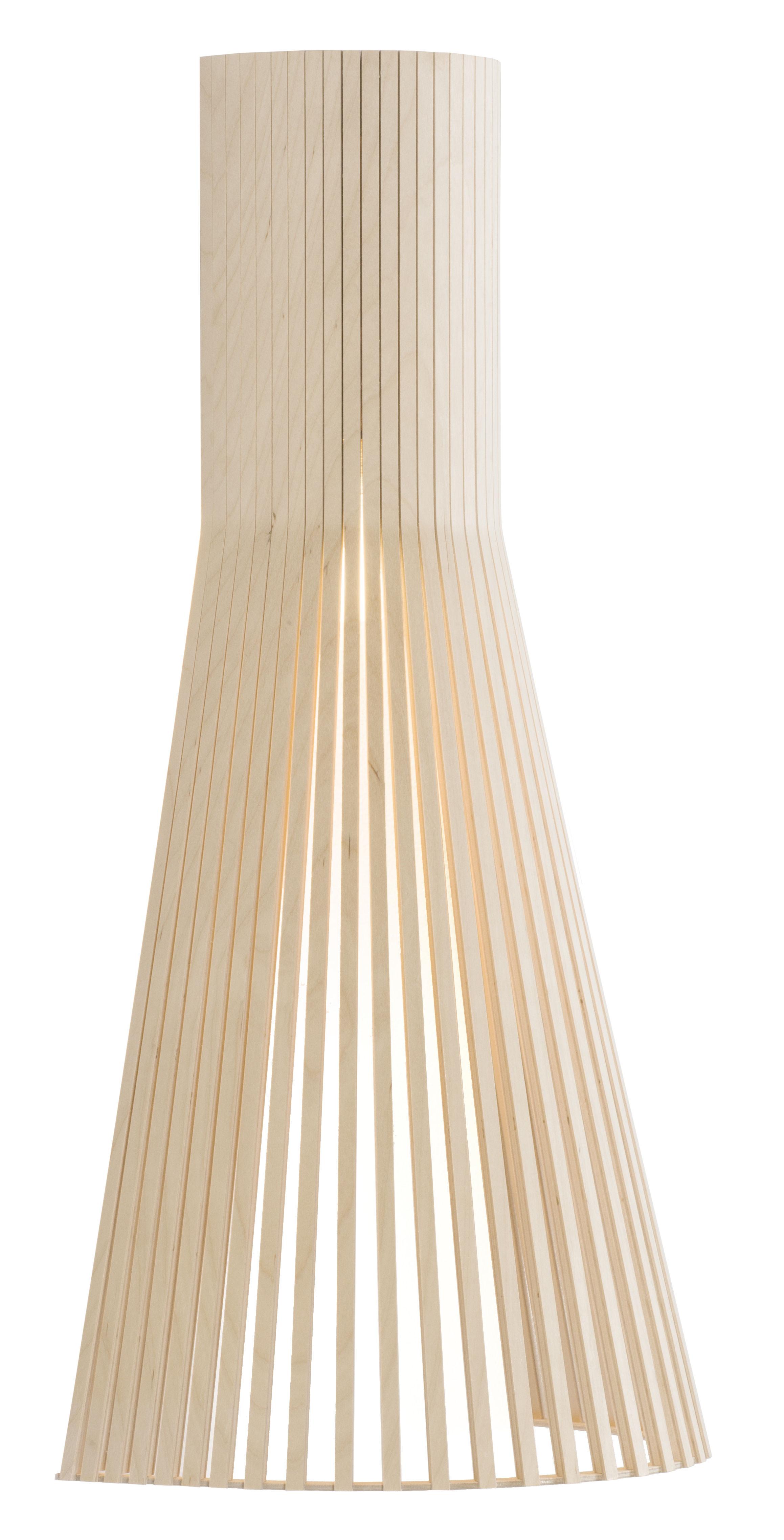 Illuminazione - Lampade da parete - Applique con presa Secto L - / H 60 cm di Secto Design - Betulla naturale / Cavo bianco - Doghe di betulla