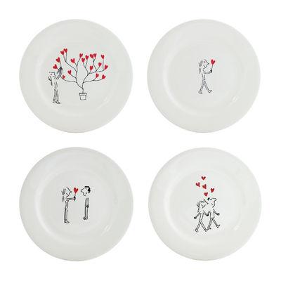 Assiette à dessert Les amoureux / Lot de 4 - Ø 22 cm - GIEN blanc,rouge,noir en céramique