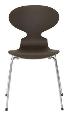 Mobilier - Chaises, fauteuils de salle à manger - Chaise empilable Fourmi / Bois naturel - Fritz Hansen - Chêne teinté foncé - Acier, Contreplaqué de chêne teinté verni