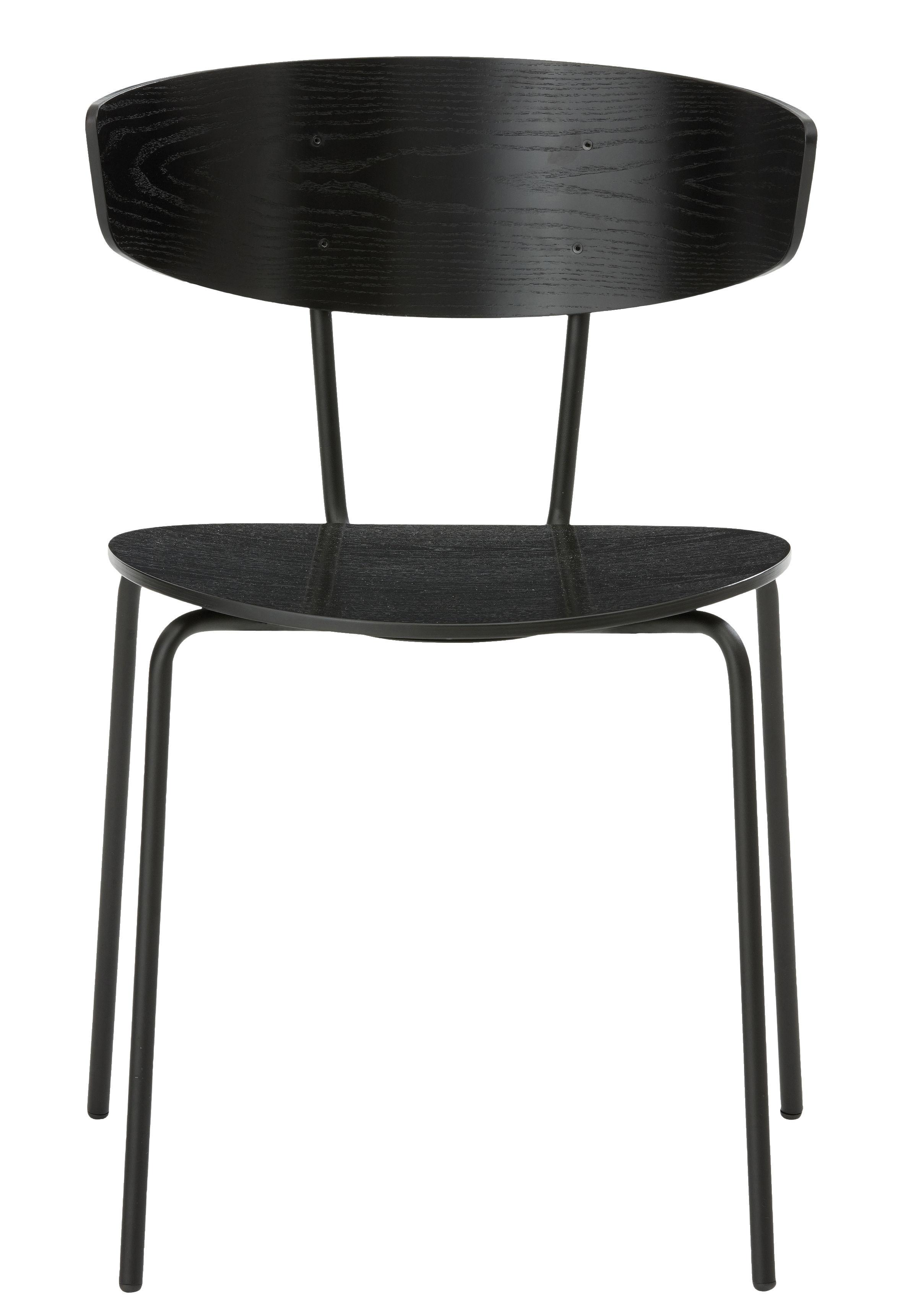 Mobilier - Chaises, fauteuils de salle à manger - Chaise empilable Herman / Bois & métal - Ferm Living - Noir - Acier laqué époxy, Contreplaqué de chêne laqué