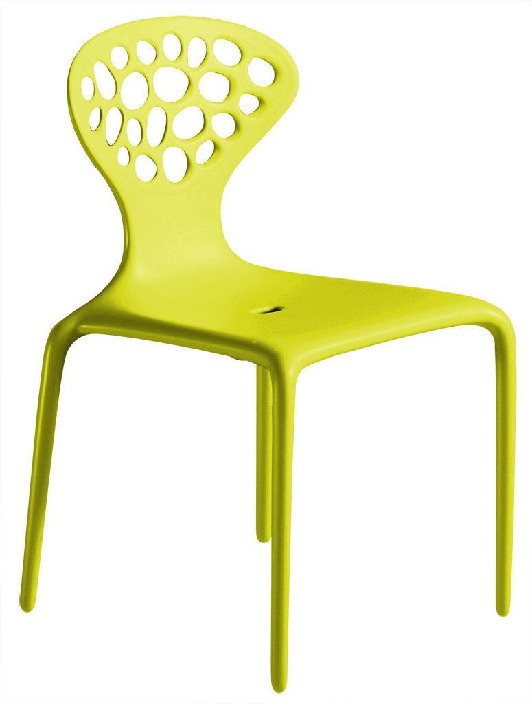 Mobilier - Chaises, fauteuils de salle à manger - Chaise empilable Supernatural / Plastique - Moroso - Vert - Fibre de verre, Polypropylène