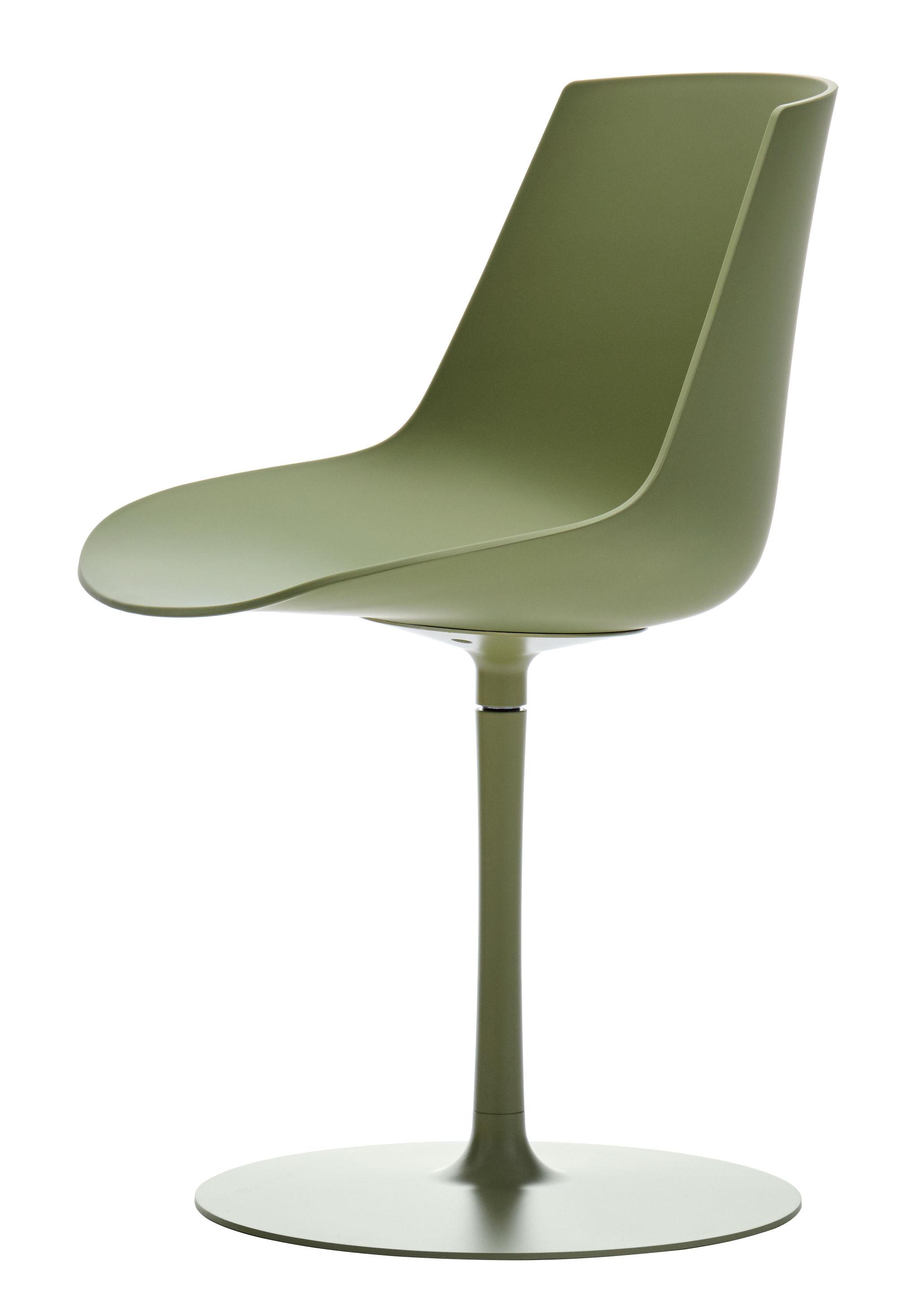 Mobilier - Chaises, fauteuils de salle à manger - Chaise pivotante Flow Color / Pied central - MDF Italia - Olive - Aluminium époxy, Polycarbonate
