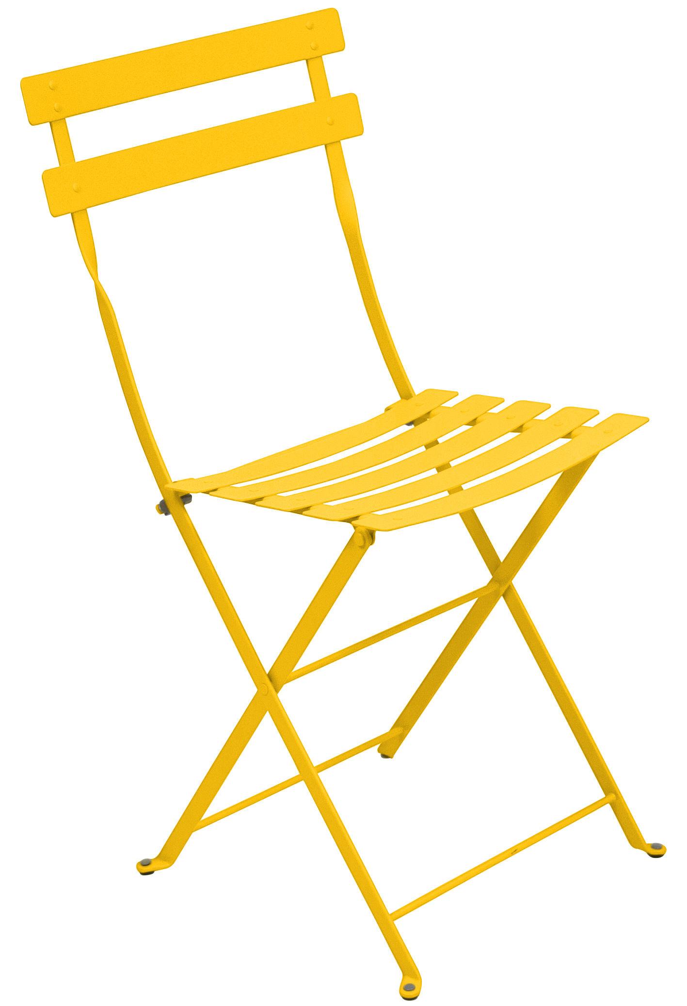Mobilier - Chaises, fauteuils de salle à manger - Chaise pliante Bistro / Métal - Fermob - Miel - Acier laqué